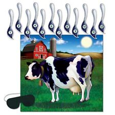 PIN THE TAIL ON THE COW FARM YARD PARTY GAME!