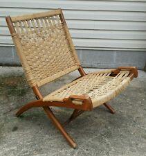 Mid Century Modern Vtg HANS WEGNER? Woven Rope Wood Handles Folding Comfy Chair