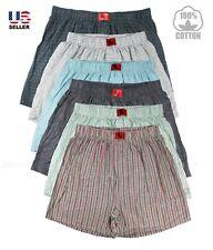 Lot 3 Pack Men's Boxer 100% Cotton Soft Plaid Check Short Trunk Underwear Beach