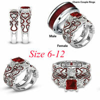 His Hers Lover Stainless Steel Red CZ Couple Engagement Wedding Band Rings Set