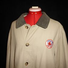 Boston Red Sox LANDS END Beige Canvas Plaid Lined Barn Chore Field Jacket LARGE