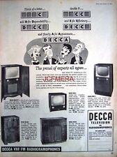 1957 Decca VHF/FM T.V. & Radiogramophones AD - Original Print ADVERT