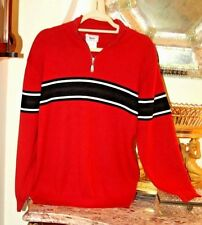 WONDERFUL MEISTER RED & BLACK STRIPED  MENS SWEATER / S