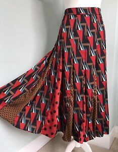 ZARA Geometric Polka Dot Contrast Prints Flared Midi Skirt L UK 12 Silky Swishy