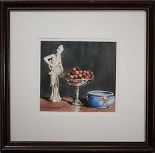 Gary Curtis Original Watercolor Stillife, Jade Figure, Silver Fruit Bowl, FINE!