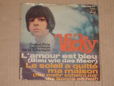 """VICKY -L'amour est bleu (Blau wie das Meer)- 7"""" 45 (Grand Prix Eurovision)"""