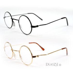 Retro Round Metal Reading Glasses Black Gold Lennon Style 1.00 to 3.75