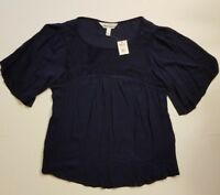 TANTRUMS NAVY BLUE RAYON LACE CHEST TOP SMALL MEDIUM NWT BOHO PEASANT *FAST