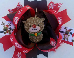 """Red Nosed Reindeer Red Black Brown White Sparkle Felt Center Piece Hair Bow 5"""""""