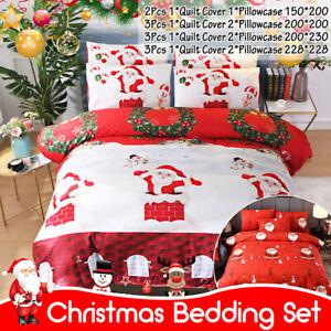 Christmas Santa Duvet Cover Quilt Bedding Set With Pillowcase Twin Full