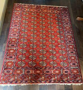 """ORIENTAL TURKISH BOKHARA 100% WOOL RED AREA RUG / CARPET 6'6"""" X 4'9"""""""