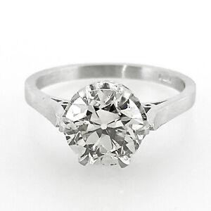 1.55 ct Vintage Antique Old European Cut Diamond Engagement Ring In  Platinum