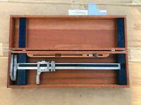 "VINTAGE Brown & Sharpe No. 585 19"" Vernier Height Gage w/ Wood Case USA MADE!"