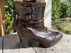 Born Granny Vintage Steampunk Brown Heeled Boots Women's Size 8