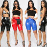 Women Wet Look Shiny PU Leather Capri Shorts Bodycon PU Pants Ladies High Waist