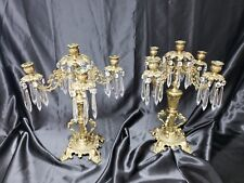 Pair of Elegant Victorian Era Bronze 5 Arm Candle Holder Gargoyles Candelabra