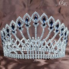 "Large Full Round Crowns 5"" Clear Blue Rhinestones Tiaras Pageant Party Costumes"