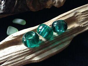 3 x Aqua Teal Blue Glass Dreadlock Beads 5mm Hole Dreads Braids Bracelets UK New