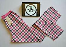 Original PENGUIN Womens Pyjama Bottoms Sleepwear Pink Check Sz. Small W28 L31