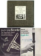2 Recorder Instruction Books + Recorder Guide Lp New/Sealed