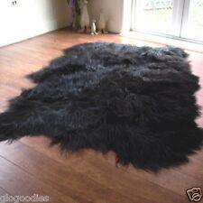 Black Icelandic Sheepskin Rug - Extra Long & Soft Wool - Quad Sheepskin