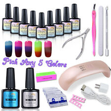 Ukiyo Any 5 Colors Temprature Changing Gel Nail Polish 9W Lamp Top Base Coat Set