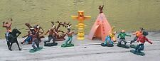 VTG SET OF COWBOYS - INDIANS - TOTEM POLE - TEPEE TIMPO CLONE FIGURES HONG KONG