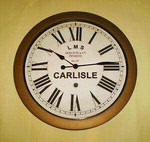 LMS Railway Vintage Style Waiting Room Clock, Carlisle Station, Cumbria.