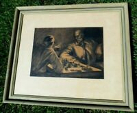 BEN LASSEN ARTIST SIGNED CHARCOAL DRAWING OF CHESS GAME