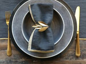 Brass Gold Metal Leaf Napkin Ring, Christmas Leaves Table Decor, Eating Dining