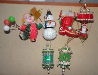 VINTAGE LOT OF (6) DECORATIVE SEQUIN~FELT~BEADED CHRISTMAS TREE ORNAMENTS