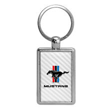 Ford Mustang Tri-Bar White Carbon Fiber Backing Brush Rectangle Metal Key Chain