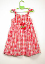 L091/23 Gymboree Girl's Red Checkered Cotton Dress with Strawberries, age 4