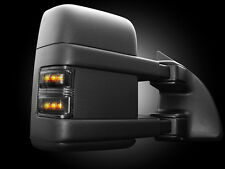 2008-2016 Ford Super Duty Truck Smoked Side Mirror Lenses with Amber LED Lights