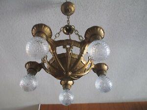 VINTAGE ANTIQUE LINCOLN ART DECO CHANDELIER LAMP 5 LIGHT CEILING CHAIN FIXTURE