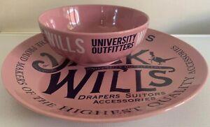 Rare Pink Retail Display Jack Wills London Plate & Bowl 130498