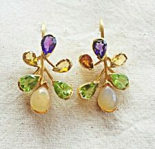 Incredible Handmade Opal, Amethyst, Citrine & Peridot Sterling Silver Earring
