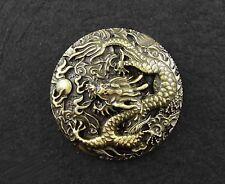 Biker Brass Conchos Chinese Dragon Leathercraft Wallet Belt Screw Back