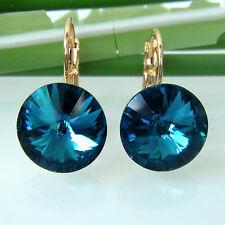 Navachi Blue 18K GP Crystal Sapphire Zircon Leverback Earrings BH1270