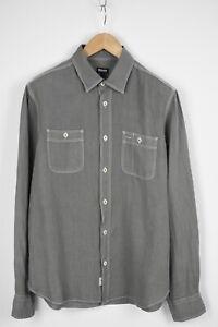BLAUER Men's LARGE 100% Linen Spread Stitched Hems Casual Shirt 28162_JS
