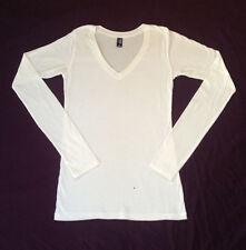 New women's long sleeve v-neck t-shirt  white 100% cotton sizes XS, S, M, L