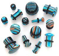 1 Pair Organic Stone Single Flare Ear Plug Gauges Blue Stripe Agate You Pick