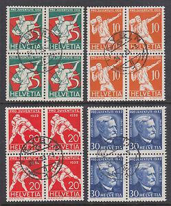 Switzerland Sc B61-B64 used 1932 Semi-Postals, complete in Blocks of 4, VF