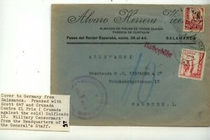 Spain   cover  to  Germany   military  censor         MS0630