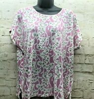 GAP Womens Linen Blend Floral T-Shirt M Short Sleeve Pink White Knit Top Medium