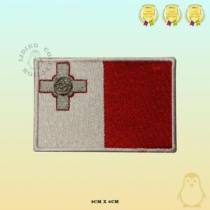 Malta National Flag Embroidered Iron On Sew On Patch Badge For Clothes Etc