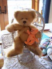 "Russ Berrie Pennington Teddy Bear Gold Plush Fur 14"" Gold Bow"