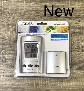 Taylor Weather Guide Wireless Indoor/Outdoor Thermometer Clock Programmable