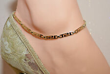 GREEK KEY 14Kt Gold Clad Bond ANKLET ANKLE  BRACELET GREEK KEY 9 TO 13""