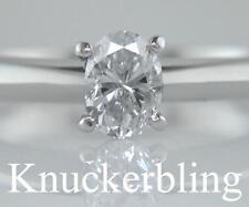 Diamond Solitaire Solid Platinum Engagement Ring Certified E Colour 0.72ct Oval